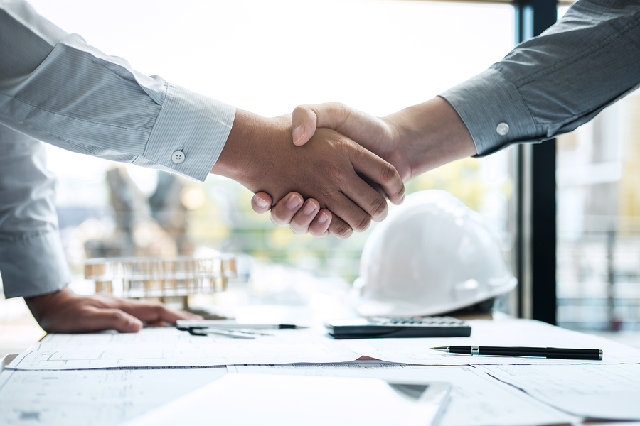 Handshake Of Collaboration, Construction Engineering Or Architec